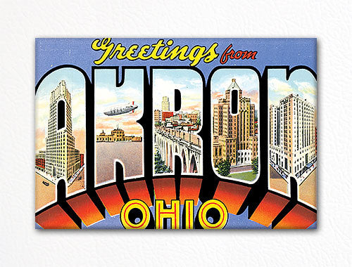 Greetings from Akron Ohio Souvenir Fridge Magnet