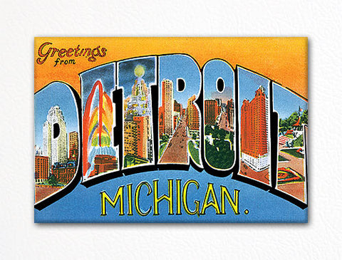 Greetings from Detroit Michigan Fridge Magnet