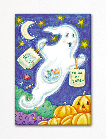 Cute Trick or Treat Ghost Halloween Fridge Magnet