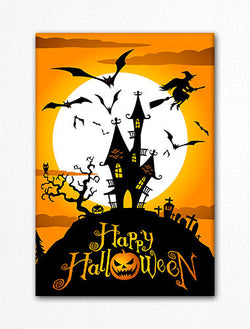 Spooky Halloween Haunted House Fridge Magnet