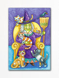 "Adorable ""Cat Lady"" Witch Halloween Fridge Magnet"