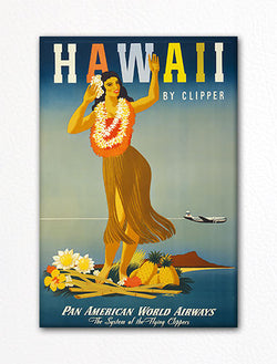 Hawaii by Clipper Vintage Poster Fridge Magnet