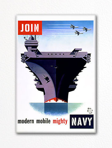 Join Modern Mobile Mighty Navy Recruiting Poster Fridge Magnet