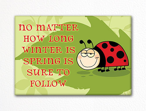 Cute Ladybug Winter Spring Fridge Magnet