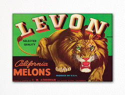 Levon California Melons Label Art Fridge Magnet