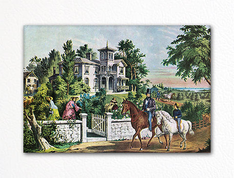 American Country Life May Morning Currier & Ives Fridge Magnet