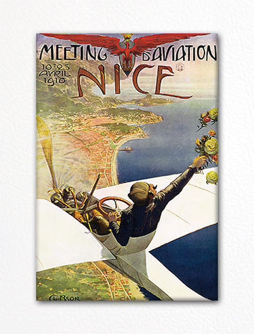 Meeting Aviation Nice France Vintage Poster Artwork Fridge Magnet