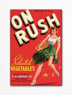 On Rush Vegetables Label Art Fridge Magnet