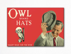 Owl Brand Hats Vintage Label Art Fridge Magnet