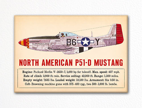 North American P-51D Mustang WWII Aircraft Illustration Fridge Magnet