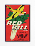 Red Bill Celery Label Art Fridge Magnet