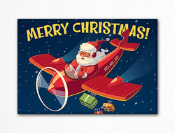Santa Claus Flying in an Airplane Christmas Fridge Magnet