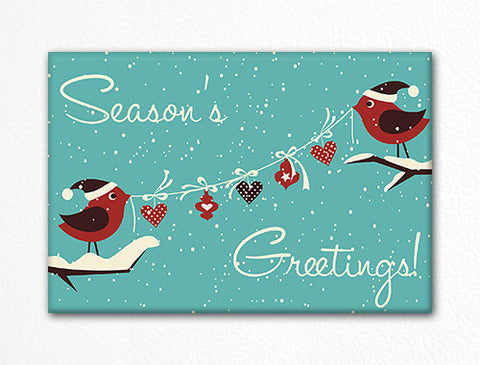 Cute Holiday Birds Retro-Style Christmas Fridge Magnet