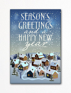 Christmas Town Seasons Greetings Happy New Year Fridge Magnet