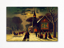 Snowy Night Scene with Church Fridge Magnet