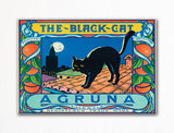 The Black Cat Agruna Valencia Oranges Label Art Fridge Magnet