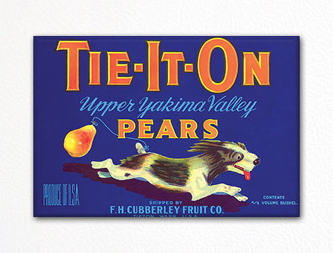 Tie It On Pears Label Art Fridge Magnet
