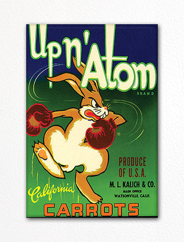 Up n' Atom Carrots Label Art Fridge Magnet