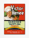 Victor Renee Sardines Label Art Fridge Magnet