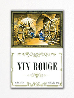 Vin Rouge Wine Label Art Fridge Magnet