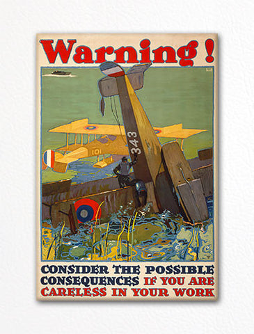 Warning! Consider the Consequences Aviation Accident Fridge Magnet
