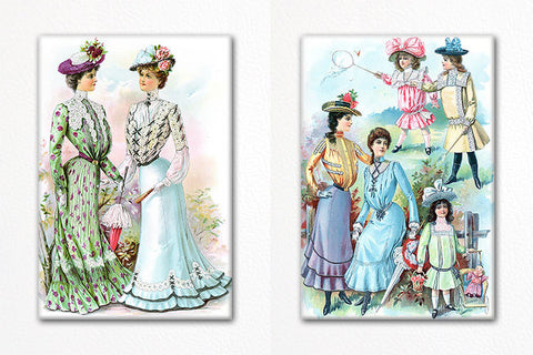 Women's Fashions 1901 Fridge Magnet Set