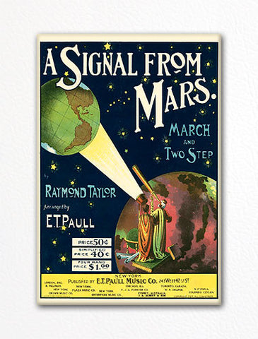 A Signal From Mars E. T. Paull Sheet Music Cover Fridge Magnet