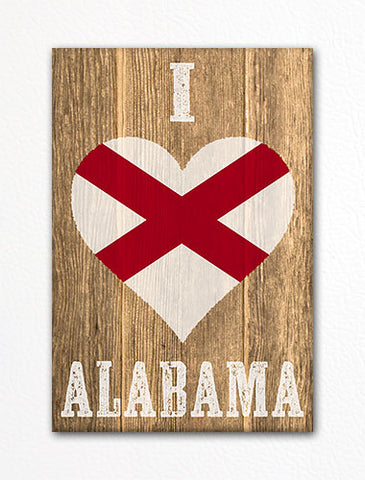 I Love Alabama Flag Heart Fridge Magnet