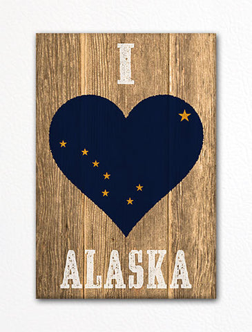 I Love Alaska Flag Heart Fridge Magnet