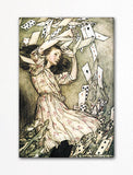 Alice in Wonderland Falling Cards Illustration Fridge Magnet