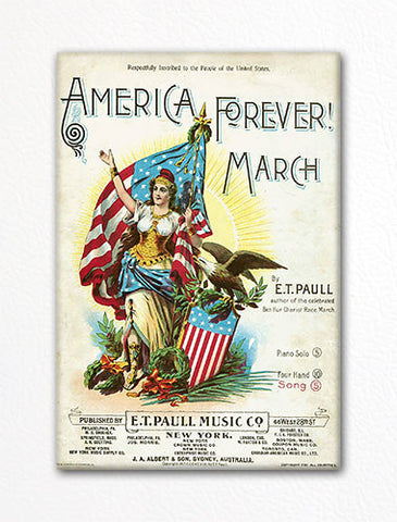 America Forever March E. T. Paull Sheet Music Cover Fridge Magnet