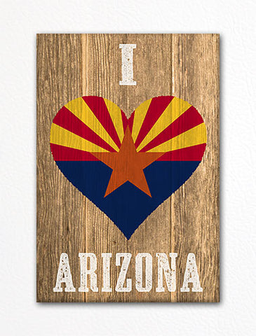 I Love Arizona Flag Heart Fridge Magnet