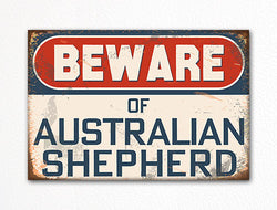 Beware of Australian Shepherd Dog Breed Cute Fridge Magnet
