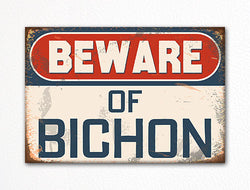 Beware of Bichon Dog Breed Cute Fridge Magnet
