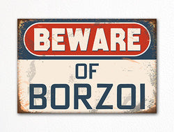 Beware of Borzoi Dog Breed Cute Fridge Magnet
