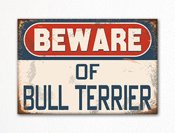 Beware of Bull Terrier Dog Breed Cute Fridge Magnet