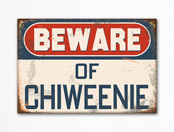 Beware of Chiweenie Dog Breed Cute Fridge Magnet