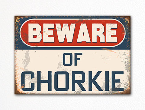 Beware of Chorkie Dog Breed Cute Fridge Magnet