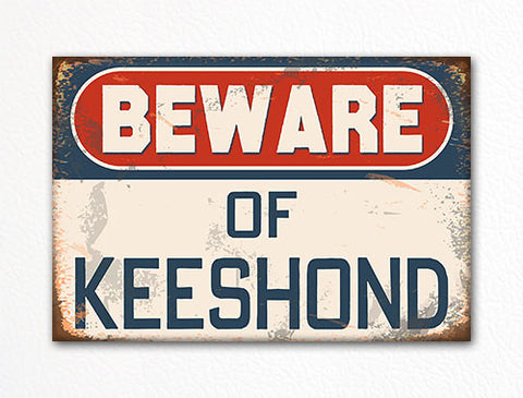 Beware of Keeshond Dog Breed Cute Fridge Magnet