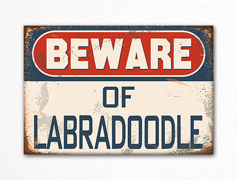 Beware of Labradoodle Dog Breed Cute Fridge Magnet