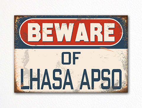 Beware of Lhasa Apso Dog Breed Cute Fridge Magnet