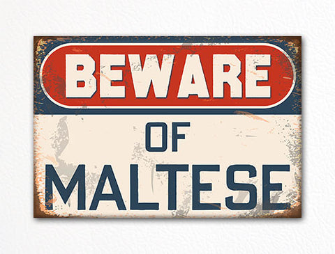 Beware of Maltese Dog Breed Cute Fridge Magnet