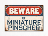 Beware of Miniature Pinscher Dog Breed Cute Fridge Magnet