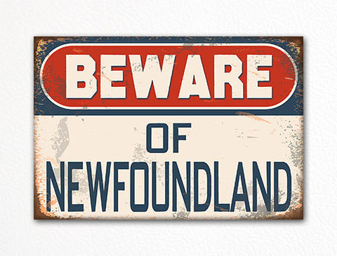 Beware of Newfoundland Dog Breed Cute Fridge Magnet