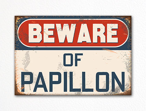 Beware of Papillon Dog Breed Cute Fridge Magnet