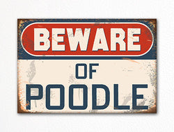 Beware of Poodle Dog Breed Cute Fridge Magnet