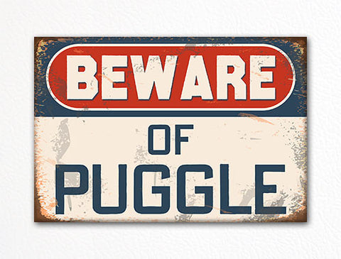 Beware of Puggle Dog Breed Cute Fridge Magnet
