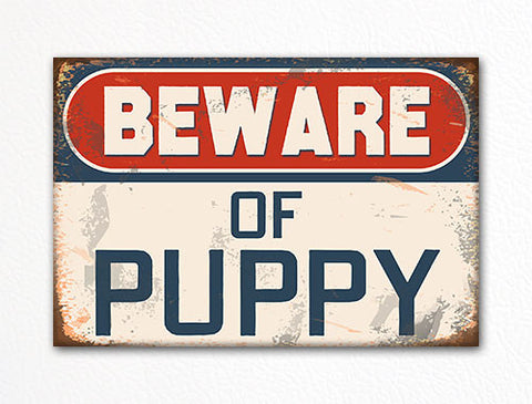 Beware of Puppy Cute Fridge Magnet