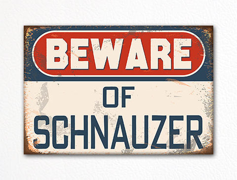 Beware of Schnauzer Dog Breed Cute Fridge Magnet