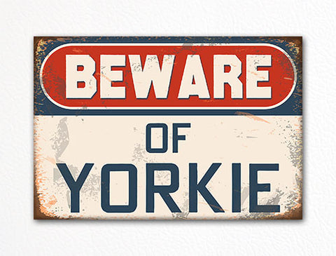 Beware of Yorkie Dog Breed Cute Fridge Magnet